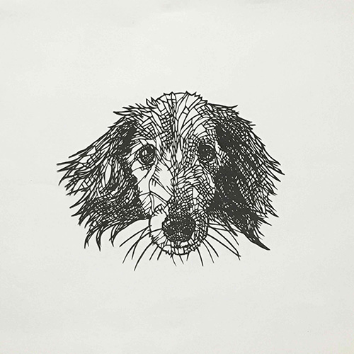 盛田亜耶 ラッシー君 2021 30.0×30.0 cm(額寸) 切り絵、紙