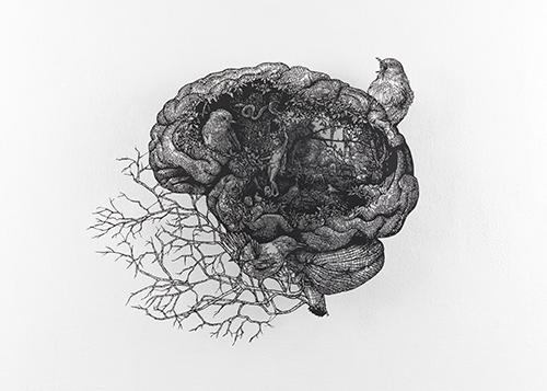 盛田亜耶 《楽園》 解体新書Ⅱ 2021 62.0×72.0 cm(額寸) 切り絵、紙
