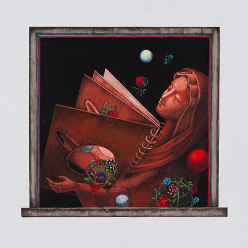 齋藤芽生 - 香星群アルデヒド「聖母星団」, 2014, 17x18.3cm, アクリル、紙