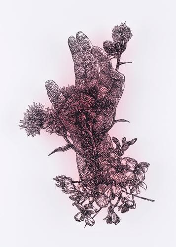 盛田 亜耶 最後の晩餐-聖アンデレの手 2018 35.5×22.4cm 切り絵、アクリル絵具