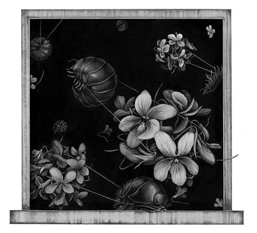 齋藤芽生 - 香星群アルデヒド「蠢動星」, 2014, 16.3x17.7cm, アクリル、紙