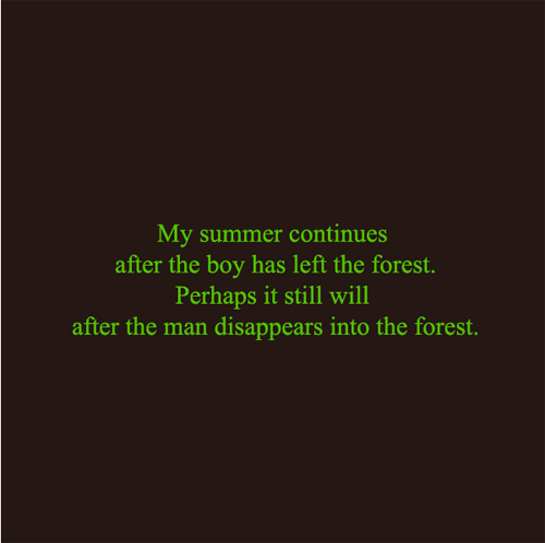 齋藤芽生  少年が森を去ってしまってからも私の夏は続いている。男が森の中に消えたのちも私の夏は続くだろう。 2016  60×60cm