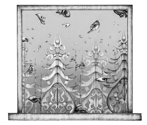 齋藤芽生 - 香星群アルデヒド「雪華星」, 2014, 16.6x19.2cm, アクリル、紙