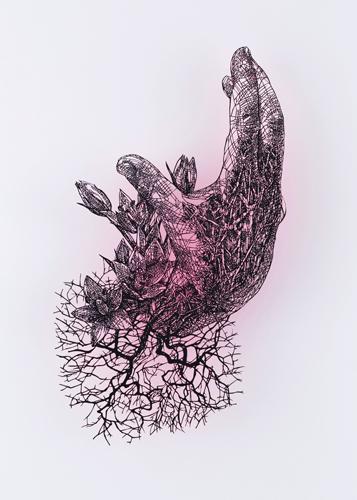 盛田 亜耶 最後の晩餐-聖タダイの手 2018 33.6×23.0cm 切り絵、アクリル絵具