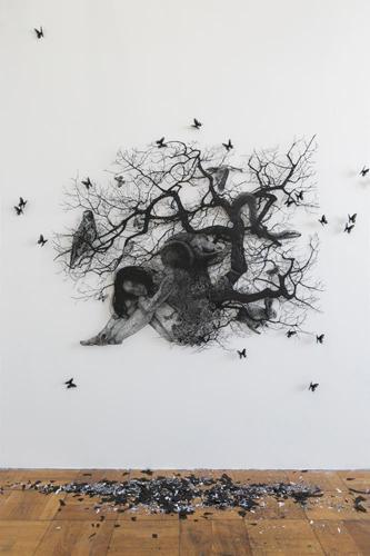盛田 亜耶 - 生命の連鎖 2016 130.9×163.0cm 切り絵