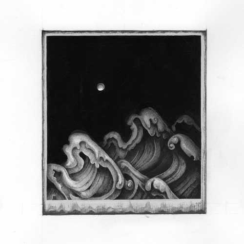 齋藤芽生 - 小香星群「なみ星」(B03), アクリル、紙, 『新潮』2014年3月号