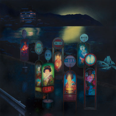 Meo SAITO - The Bus Stop for the Escaped Brides ( 逃げた花嫁たちのためのバス停 ) , 2011 , 60×60cm