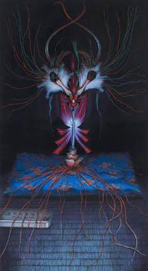 齋藤芽生, 徒花園「電影蘭」, 2008, アクリル・紙, 60 x 33 cm