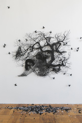 Aya MORITA - Chain of Life 2016 130.9×163.0cm Paper Cutout