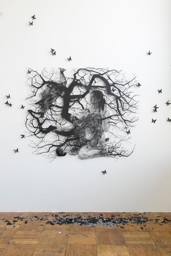 Aya MORITA - Chain of Life-The Annunciation 2017 133.0×163.0cm Paper Cutout