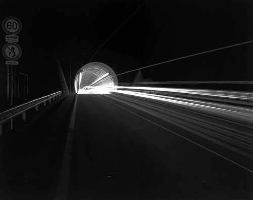 Toshio SHIBATA - N-054 Night Photo , Zushi Tunnel, Zuyo Toll Road , 1982 ,Gelatin silverprint