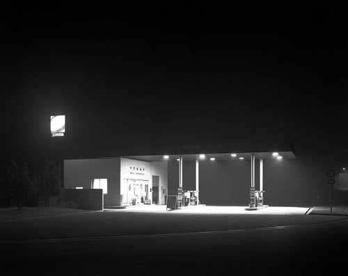 Toshio SHIBATA - N-192 Night Photo , Moriya Service Area, Joban Expressway , 1986 ,Gelatin silverprint