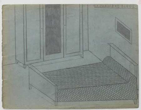 Philippe WEISBECKER_Sleeping rooms - chambre blue  2013  18×22cm  Pencil