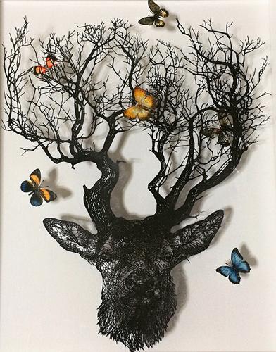 Aya MORITA「かくかくしかじか」2015  52.5×43.0cm  切り絵、アクリル絵の具