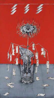 齋藤芽生, 徒花園「剃刀撫子」, 2008, アクリル・紙, 60 x 33 cm