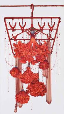 齋藤芽生, 徒花園「毛玉鶏頭」, 2008, アクリル・紙, 60 x 33 cm