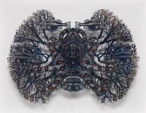 Aya MORITA「隠元ー豹紋蛸 (いんげん・ひょうもんだこ)」2015  45.0×54.0cm(額寸)  切り絵、アクリル絵の具