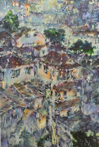茂木たまな「夢が叶う場所 ーUenoー」 2017 194.0cm×130.3cm 油彩、カンヴァス
