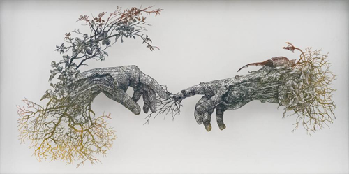 Aya MORITA - アダムの創造, 2016, 48.5x92cm, 切り絵、アクリル絵の具