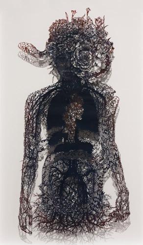 Aya MORITA - 片割れ, 2015, 105×60.0cm, 切り絵、アクリル絵の具