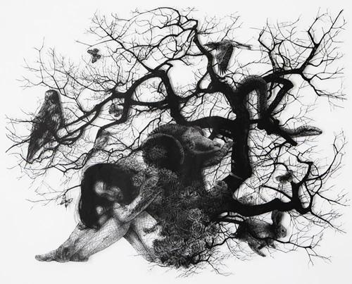 Aya MORITA - 生命の連鎖, 2016, 130.9×163.0cm, 切り絵