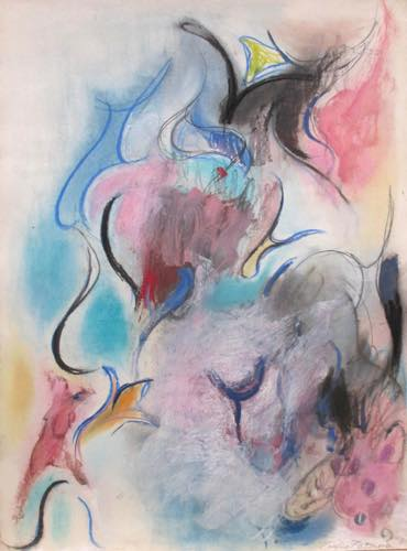 辰野登恵子 「無題」, 1981, Pastel, pencil, oil on paper, 70.0x52.0 cm