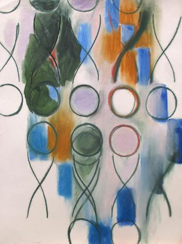 辰野登恵子 「無題」, 1982, Pastel, watercolor  on paper, 75.5x56.5 cm