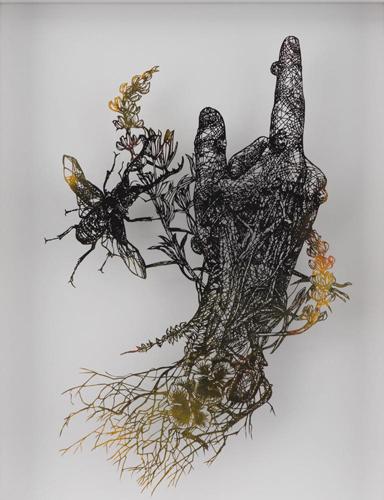 Aya MORITA - 洗礼者ヨハネの右手, 2016, 44.5×35.5cm, 切り絵、アクリル絵の具