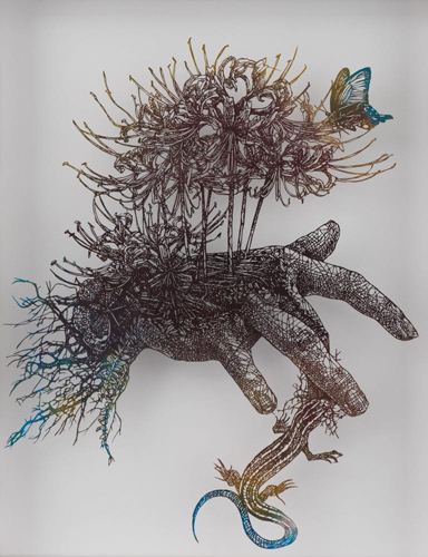 Aya MORITA - トカゲに噛まれる少年, 2016, 44.5×35.5cm, 切り絵、アクリル絵の具
