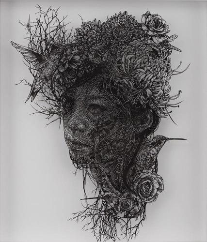 Aya MORITA - 自画像, 2016, 57×49.5cm, 切り絵、アクリル絵の具