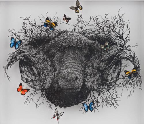 Aya MORITA - 前途羊々, 2016, 49.5x57cm, 切り絵、アクリル絵の具