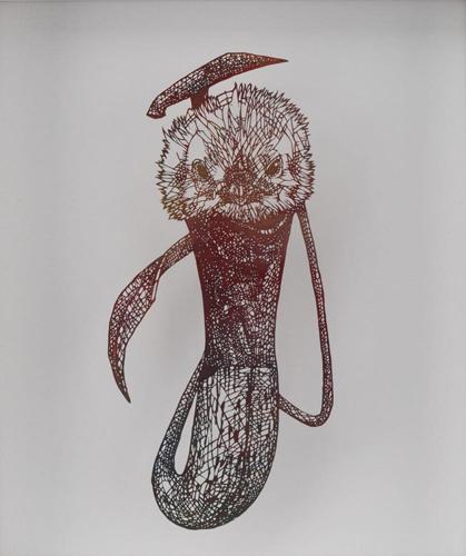 Aya MORITA - 魅惑の落とし穴Ⅰ「ヒヨコ」, 2016, 29.5×25.5cm, 切り絵、アクリル絵の具