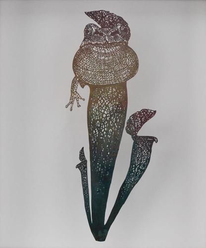 Aya MORITA - 魅惑の落とし穴Ⅰ「蛙」, 2016, 29.5×25.5cm, 切り絵、アクリル絵の具
