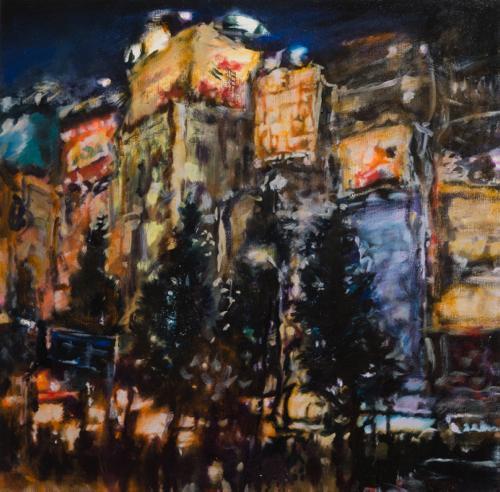 Tamana MOTEKI - 帰り道は山手線に乗ってー秋葉原ー, 2014, 45.5×45.5㎝ (8号), 油彩、カンヴァス