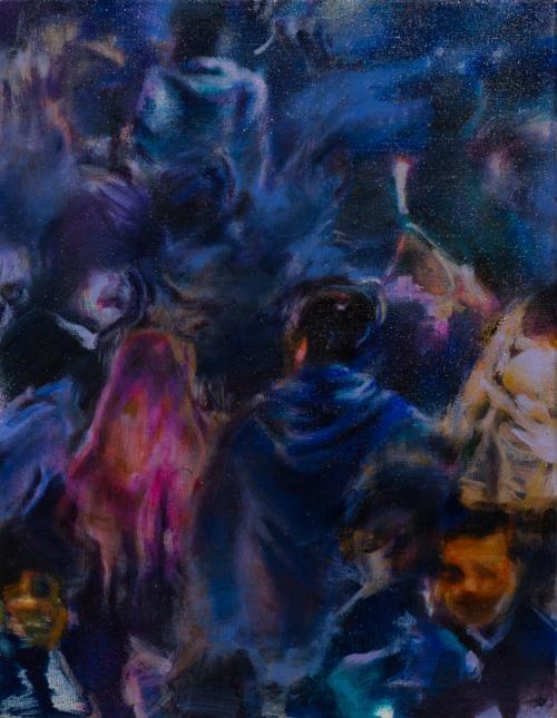 Tamana MOTEKI - 帰り道は山手線に乗ってー原宿ー, 2014, 41×31.8cm (6号), 油彩、カンヴァス