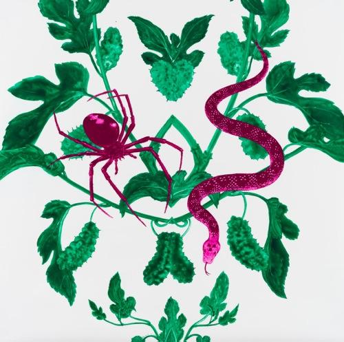 吉澤 美香 - 「たー60」(恐怖)  2015 100×100cm グアッシュ、ユポ紙