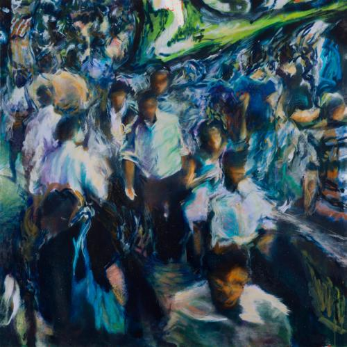 Tamana MOTEKI - 帰り道は山手線に乗ってー品川ー, 2014, 130.3×130.3㎝ (60号), 油彩、カンヴァス
