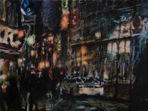 Tamana MOTEKI - 帰り道は山手線に乗ってー新橋ー, 2014, 45.5×60.6cm (12号), 油彩、カンヴァス
