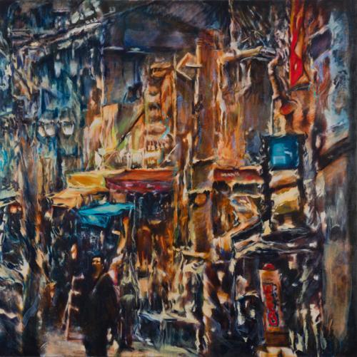 Tamana MOTEKI - 帰り道は山手線に乗ってー上野ー, 2014, 130.3×130.3㎝ (60号), 油彩、カンヴァス
