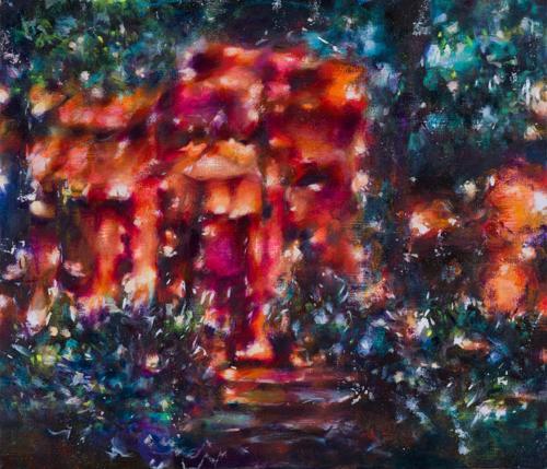 Tamana MOTEKI - レストラン銀河ー有楽町ー, 2014, F10号(45.5×53.0cm), 油彩、カンヴァス