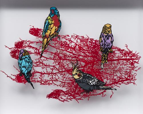 Aya MORITA - Tree of blood 02, 2012, 45.0×54.0cm 切り絵、額