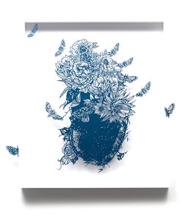 Aya MORITA - 私の鼓動はまだ鳴り止まない, 2014, 65.0×57.0cm 切り絵、額