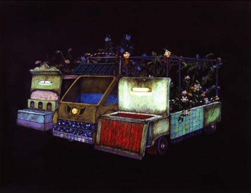 齋藤芽生, 遊隠地「湿地回復隊」, 2002, アクリル・紙, 54 x 70 cm