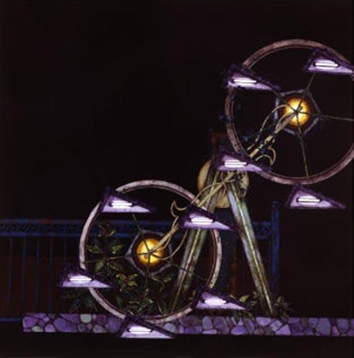 齋藤芽生, 遊隠地「露命回転機」, 2002, アクリル・紙, 54 x 54 cm