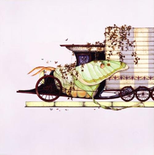 齋藤芽生, 遊隠地「粉飾街宣車」, 2002, アクリル・紙, 54 x 54 cm