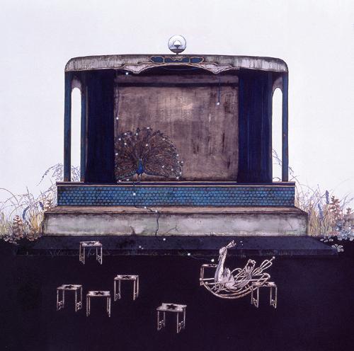 齋藤芽生, 遊隠地「惚舞台」, 2002, アクリル・紙, 54 x 54 cm